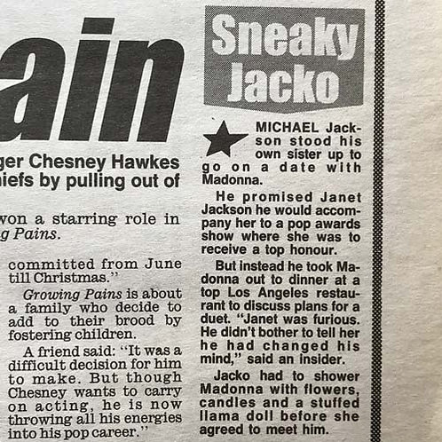 1991 March 25 DAILY MIRROR News Article feat. MICHAEL JACKSON CHESNEY
