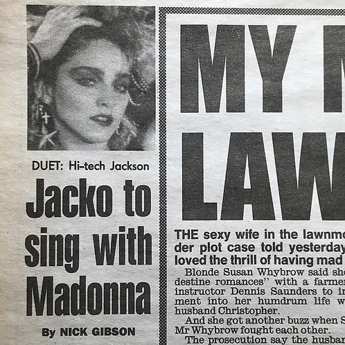 1991 March 21 DAILY MIRROR News Article feat. MADONNA, MICHAEL JACKSON