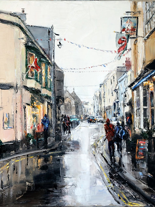 David Porteous-Butler 'Rainy Day, Tenby' 40x50cm White City Gallery London Oil on canvas Palette knife artwork street scene