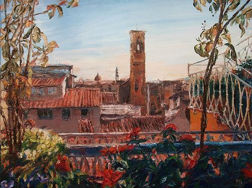 David Porteous-Butler 'Roof Garden, Firenze' 100x80cm White City Gallery London Oil on canvas Palette knife artwork Townscape