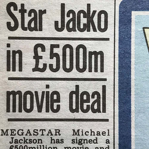 1991 March 21 £500m Movie Deal THE SUN News Article feat. MICHAEL JACKSON