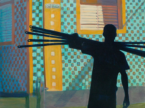 Cuban Worker (Construction in Old Havana) original painting by Deirdre Hyde, White City Gallery London