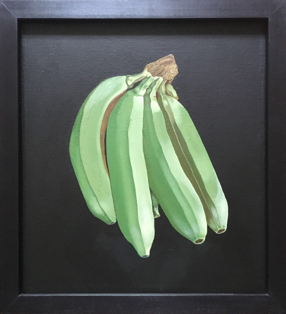 'Banorama' by Mauricio Ortiz - a still life painting of a bunch green bananas on a black background