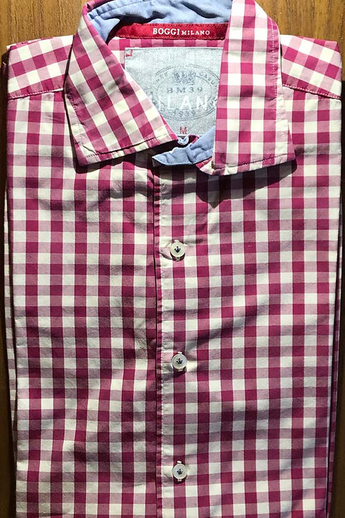 BOGGI of Milan Luxury Mens Shirt Red / White Check Size Medium 40""