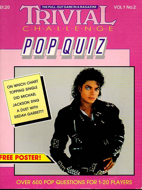1988 Pop Quiz Book & Michael Jackson BAD Poster UK Printed & Published VERY RARE