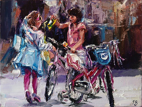 David Porteous-Butler 'Girls with Bikes' 24x18cm White City Gallery London Oil on canvas Palette knife painting Playful youth