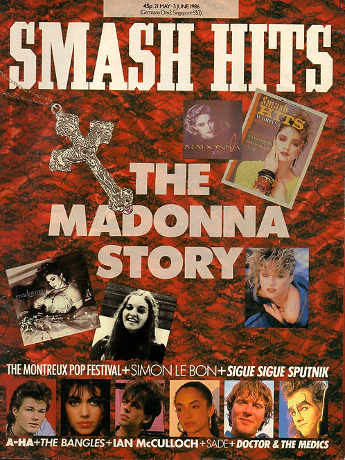 May 1986 Smash Hits magazine cover featuring pop star Madonna