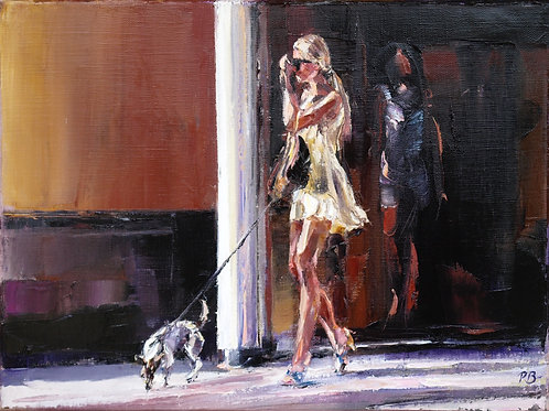 David Porteous-Butler 'Girl and Dog' 40x30cm White City Gallery London Oil on canvas Palette knife artwork female form legs