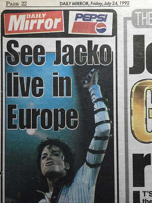 1992 See Jacko Live in Europe DAILY MIRROR MICHAEL JACKSON News Article