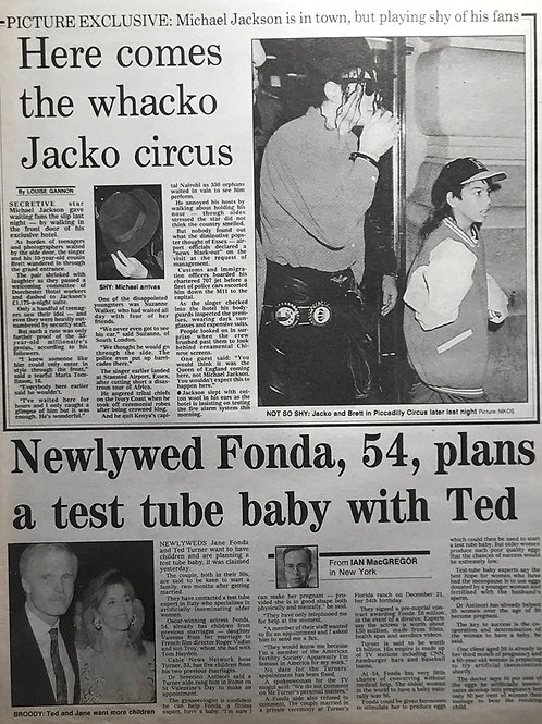1992 Here Comes The Whacko Jacko Circus MICHAEL JACKSON Daily Express