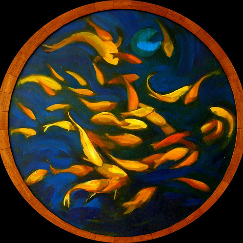 Fish Swirl, lily pad, goldfish pond original circular tondo painting by Deirdre Hyde, White City Gallery London
