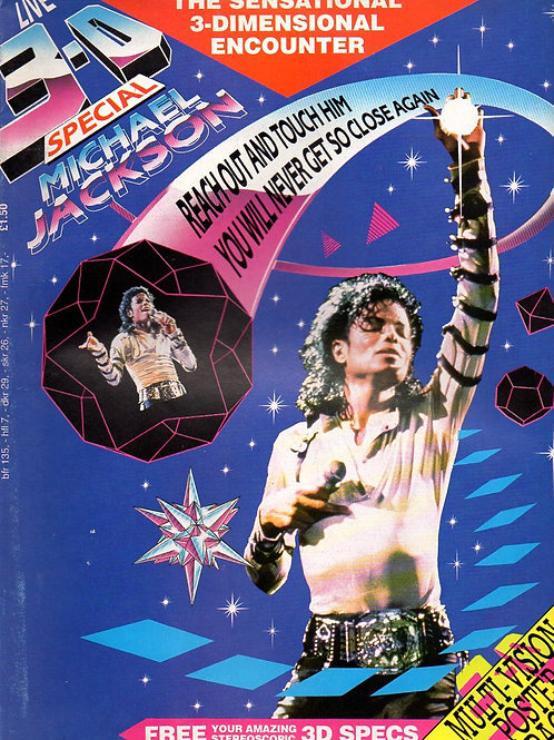 1989 3-D LIVE SPECIAL Michael Jackson Fold-Out Poster