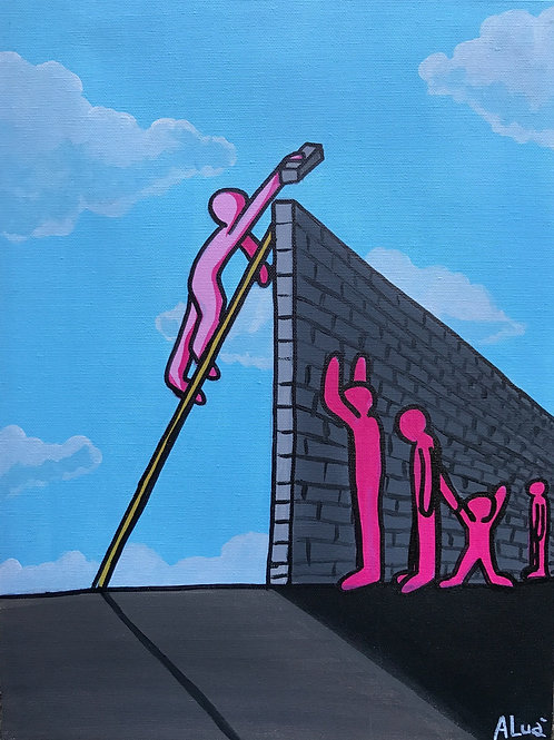 White City Gallery presents 'Muri' by artist ALUA (Christian Aloi) Ominorosa Pink People separated by building walls Trump