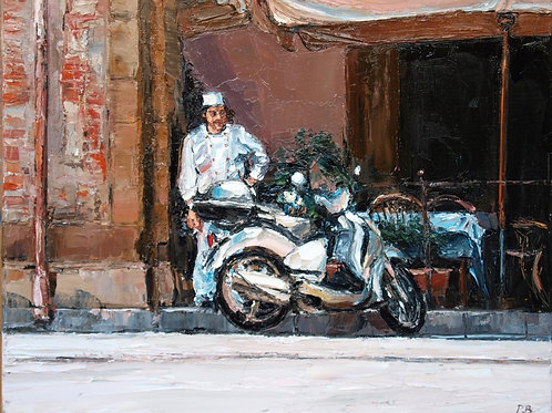 David Porteous-Butler 'Vietato Fumare' 60x50cm White City Gallery London Oil on canvas Palette knife artwork smoking chef hat