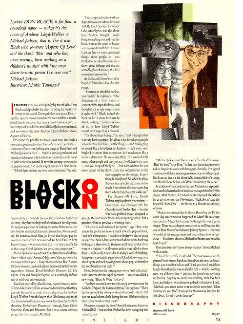 1989 INSIGHT MAGAZINE article DON BLACK / MICHAEL JACKSON MUSICAL
