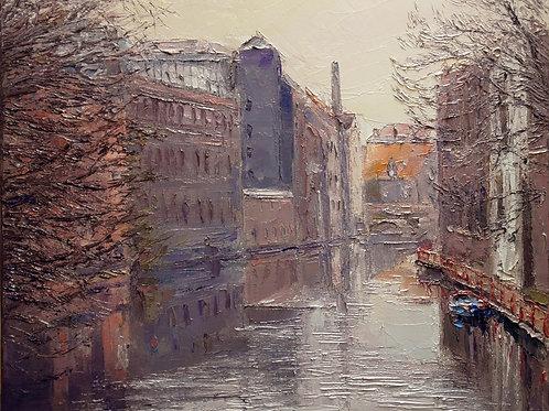 David Porteous-Butler 'Ghent VI' 45x37cm White City Gallery London Oil on canvas Palette knife artwork Townscape bleak canal
