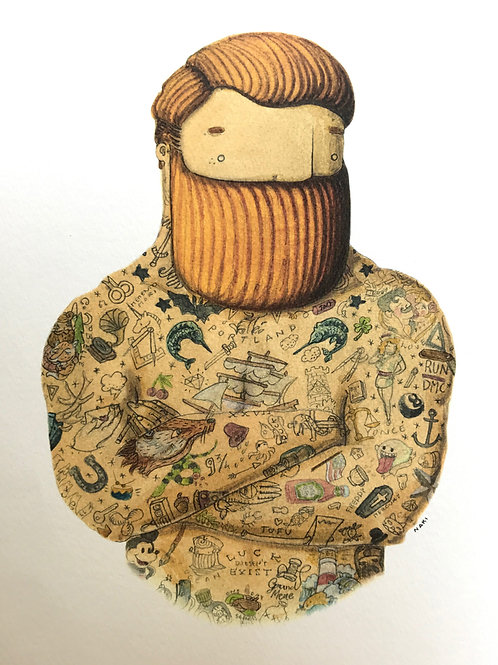 'Tattooed Man' Beardy Bear by NAKI