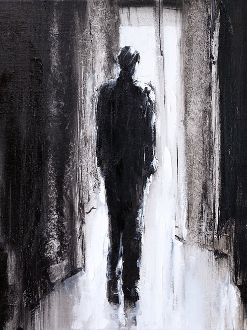 White City Gallery presents 'Light' by David Porteous-Butler. Original oil painting male form silhouette outline black