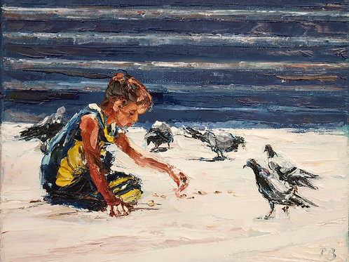 David Porteous-Butler 'Boy with Pigeons' 30x24cm White City Gallery London Oil on canvas Palette knife artwork Figurative Art