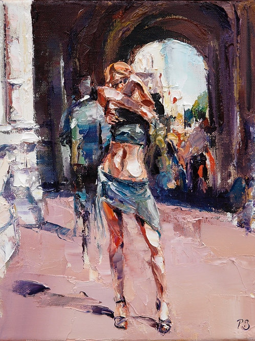 David Porteous-Butler 'Too Hot to Handle' 24x30cm White City Gallery London Oil on canvas Palette knife artwork naked midriff