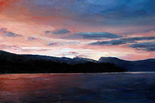 Geirangerfjord Sunset by David Porteous-Butler. Beautiful Norwegian coastal landscape presented by White City Gallery, London
