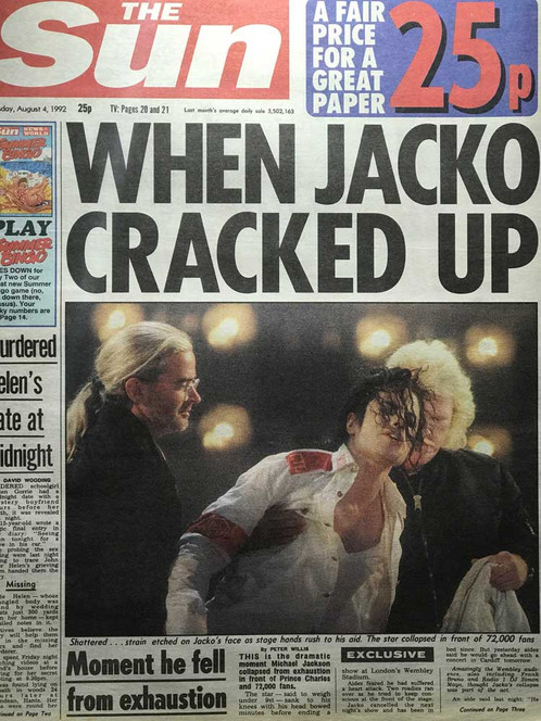 1992 'When Jacko Cracked Up' MICHAEL JACKSON The Sun News Article