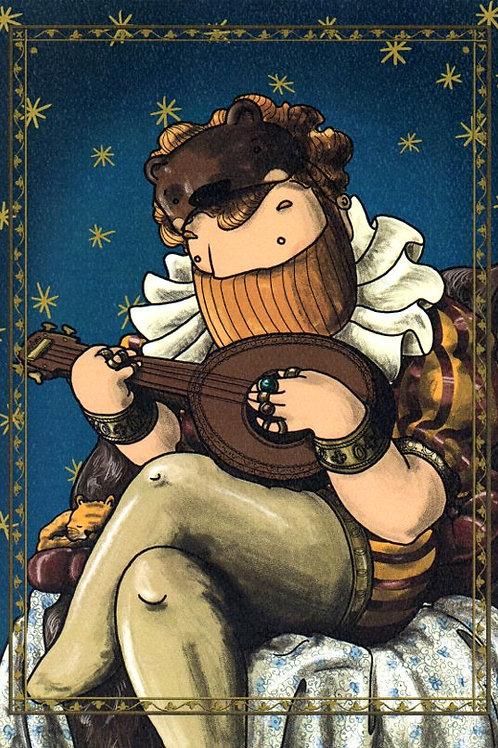 'Cub' (Beardy Bear Lute Player) by NAKI