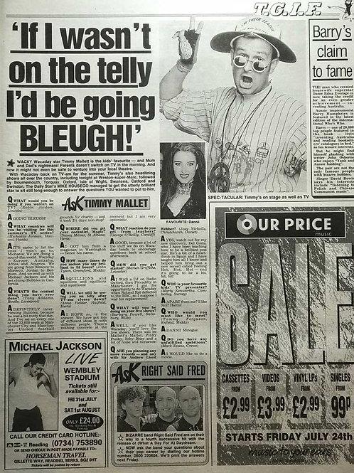 1992 MICHAEL JACKSON Live at Wembley Stadium Daily Star Advert
