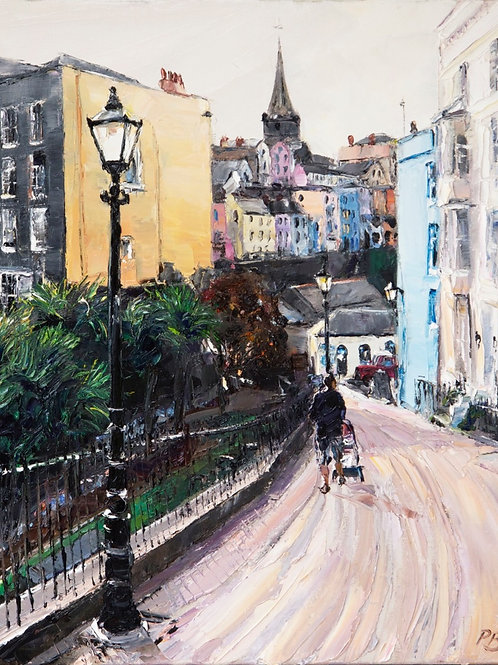David Porteous-Butler 'Bridge Street, Tenby' 40x50cm White City Gallery London Oil on canvas Palette knife artwork Townscape