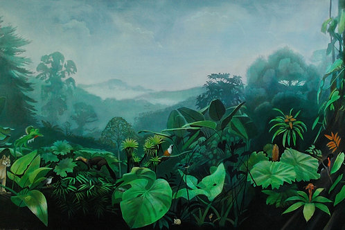 Panama Cloud Forest. Original painting by Deirdre Hyde, diversity of Panamanian wildlife & flora, White City Gallery London