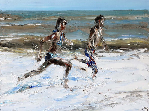 White City Gallery presents 'Freedom in the Sea' by David Porteous-Butler. Original oil painting beach scene Running in surf