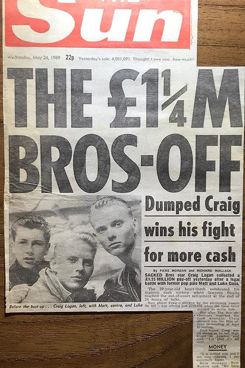 May 1989 The Sun newspaper Article featuring Matt Goss, Luke Goss & Craig Logan of pop group BROS