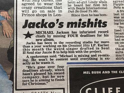 1990 Sep 'Jacko's Mishits' DAILY MIRROR News Article MICHAEL JACKSON PRINCE