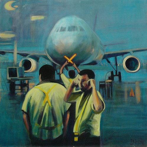 Departure (San José airport) original painting by Deirdre Hyde, White City Gallery London