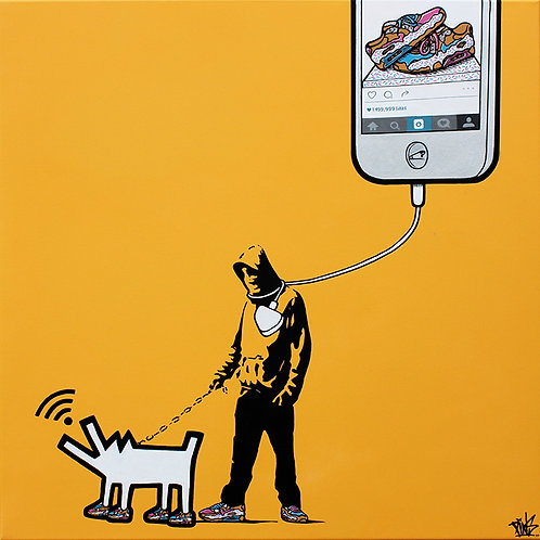 Walkies - an original pop art painting by artist PINS at White City Gallery London