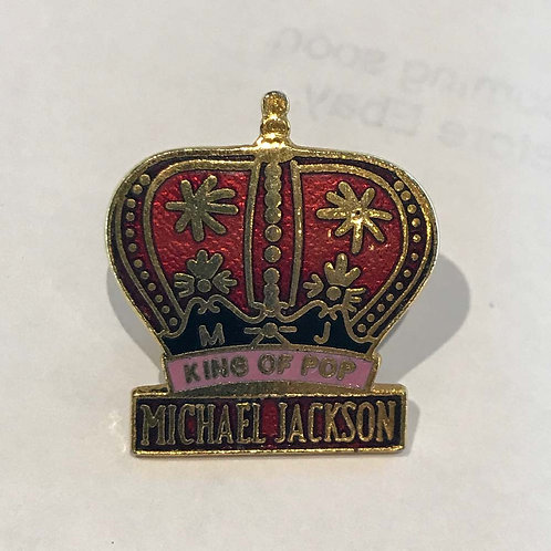 1992 'King of Pop' Enamel / Metal Badge Michael Jackson Dangerous Tour