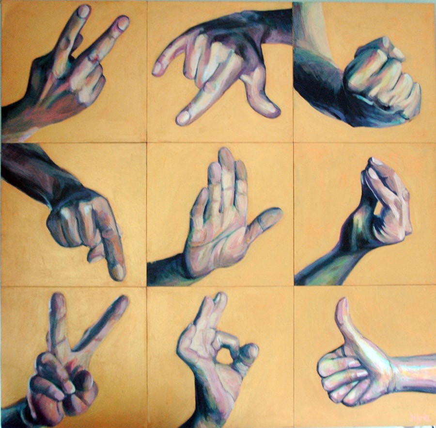 A series of nine different human hand gestures presented in a grid of 3 rows of 3