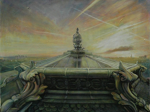 The evening sky is glowing above the Paris rooftops. Original painting by Deirdre Hyde, White City Gallery London