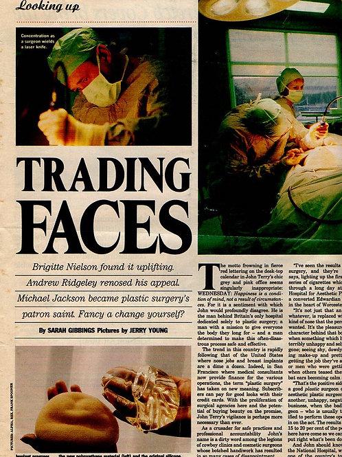 1990 MICHAEL JACKSON ANDREW RIDGELEY TOM JONES Trading Faces UK Magazine Article