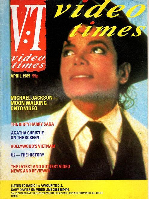 1989 April VIDEO TIMES Magazine UK Featuring Michael Jackson Moonwalker