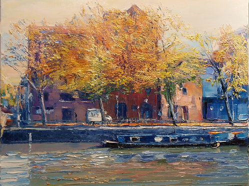 David Porteous-Butler 'Autumn in Bristol I' 60x50cm White City Gallery London Oil on canvas Palette knife artwork Canal Scene