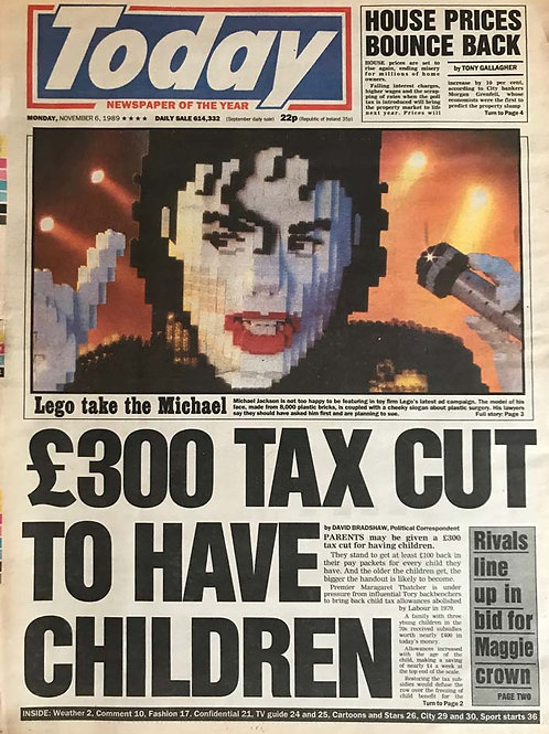 1990 Nov 6 TODAY Newspaper Article featuring MICHAEL JACKSON