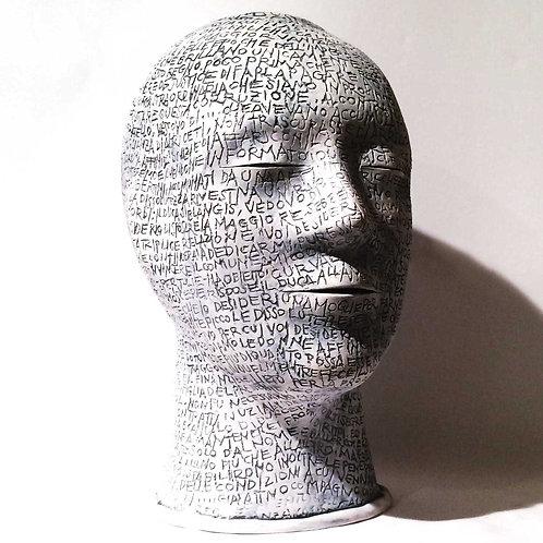 Maurizio Lo Castro 'De Sade' at White City Gallery London. Porcelain head sculpture Marquis De Sade BDSM