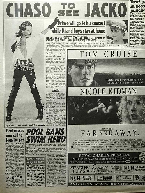 1992 'Chaso To See Jacko' MICHAEL JACKSON The Sun News Article