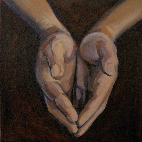 Small painting of cupped hands painted in rich brown tones - by Deirdre Hyde