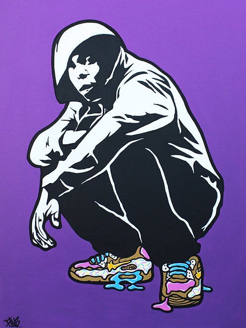 Dizzee Rascal rocks his Nike AirMax sneakers. Donut street art. Original painting by artist PINS at White City Gallery London