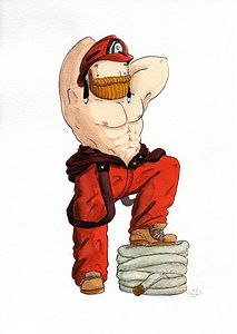 'Beardy Bear Pompiere' by NAKI  - an original watercolour of a sexy, bearded fireman - ripling muscles on his exposed torso