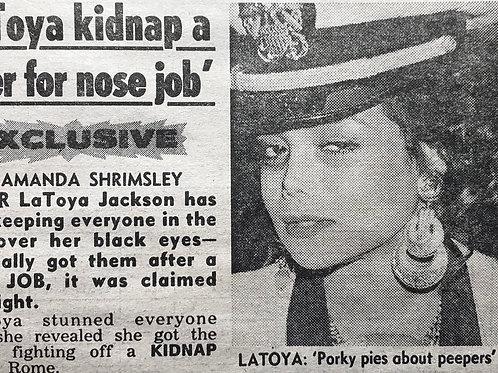 LaToya JACKSON News Of The World UK Newspaper Article June 1990