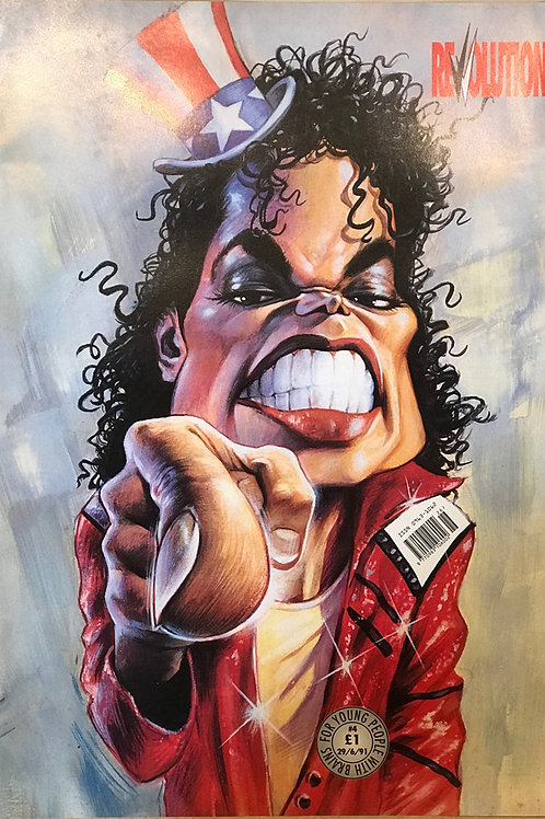 Michael Jackson cover of REVVOLUTION magazine 1991 artwork by Sebastian Kruger