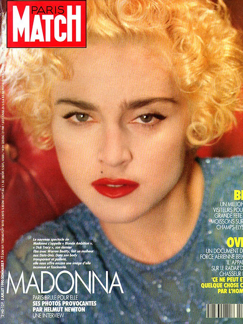 Madonna on the front cover of Paris Match magazine July 1990